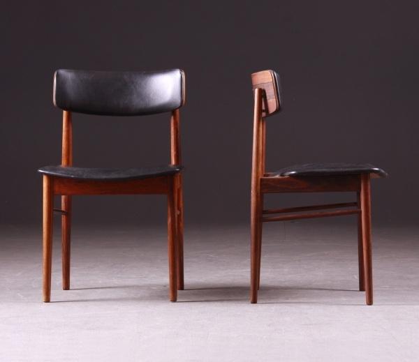 6 magnifiques chaises scandinave en plaissandre et skai manufacture danoise vejle furniture factory