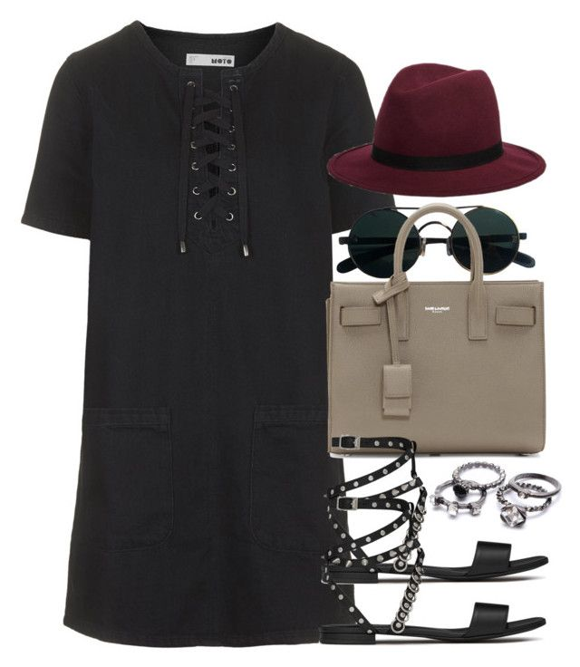 """Style #10129"" by vany-alvarado ❤ liked on Polyvore featuring Topshop, Hat Attack and Yves Saint Laurent"