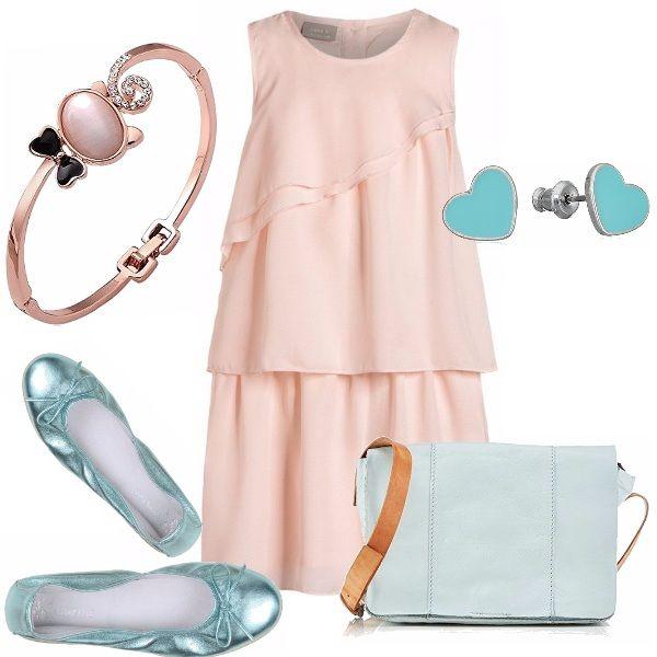 Outfit elegante per una bimba: abito in un originale motivo di balze color carne. Ballerina verde acqua effetto laminato. Piccola borsa acqua. Orecchini a cuore, delizioso braccialetto.