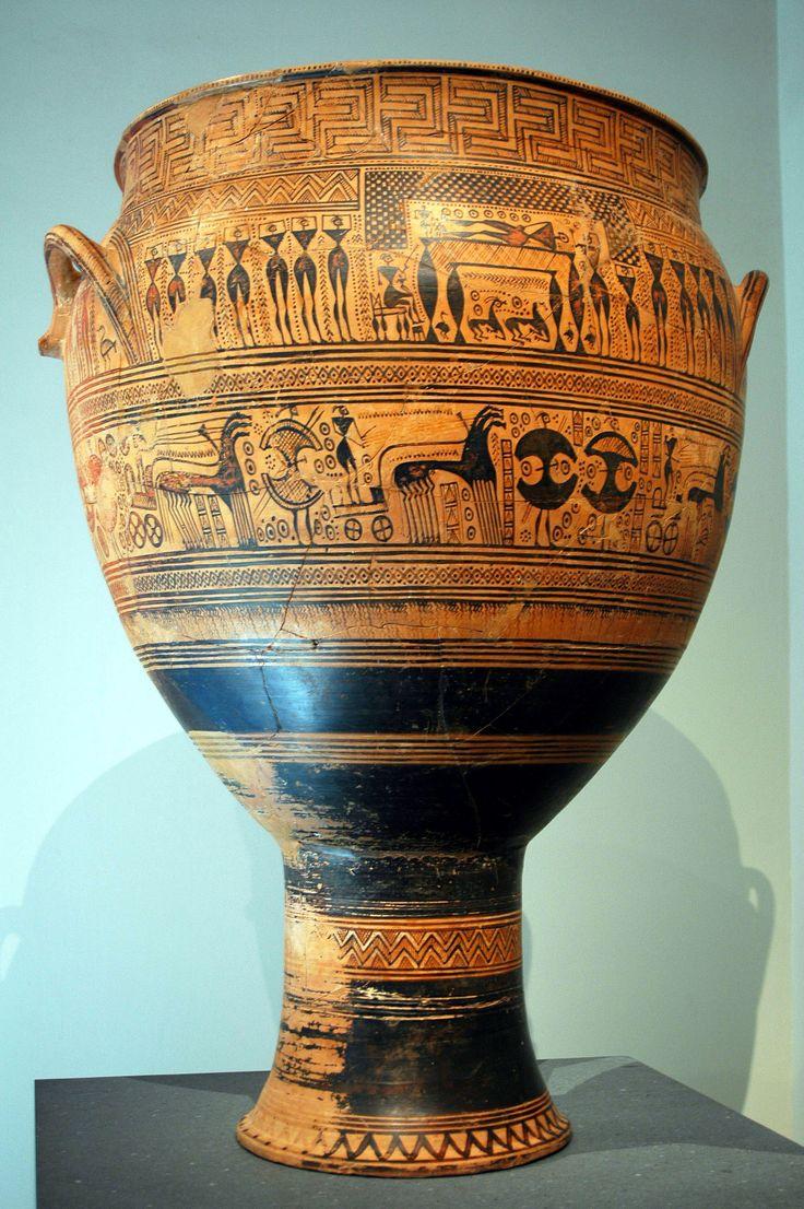 Cratere del Dipylon -740 a.C -pittore di Hirshfeld (convenzionale) -luogo di ritrovamento: cimitero del Dipylon -luogo di conservazione: Metropolitan Museum of Art, New York -ceramica a motivo geometrico