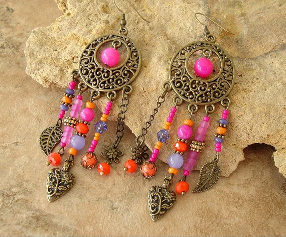Boho Gypsy Chandelier Earrings Assemblage Earrings by BohoStyleMe