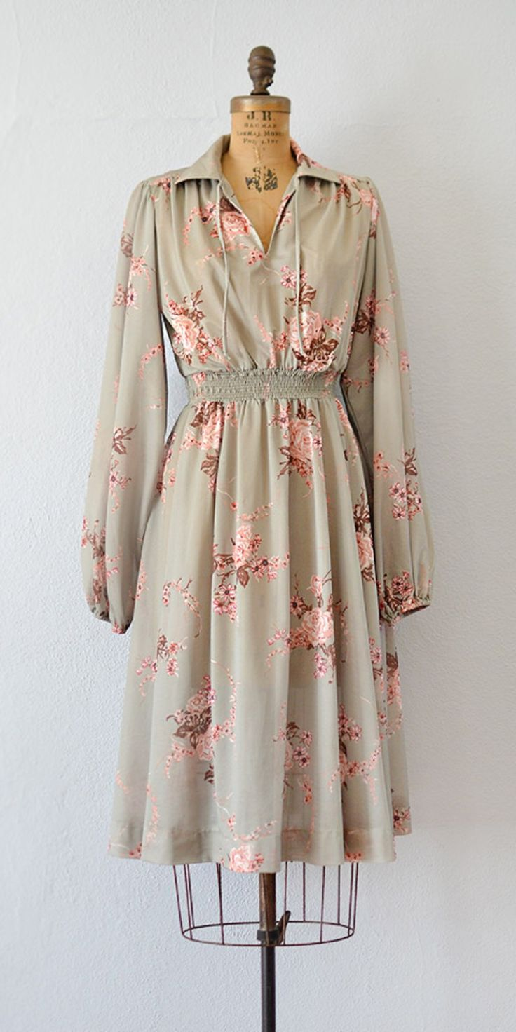 vintage 1980s celadon rose floral print dress | Celadon Belloq Dress from Adored Vintage #floraldress #vintagedress