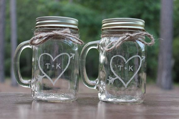 For bride and groom?! 2 Mason Jars Mugs Wedding Party heart with by EngravingByT on Etsy, $25.00