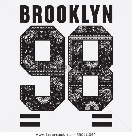 Brooklyn college sport bandana typography, t-shirt graphics, vectors