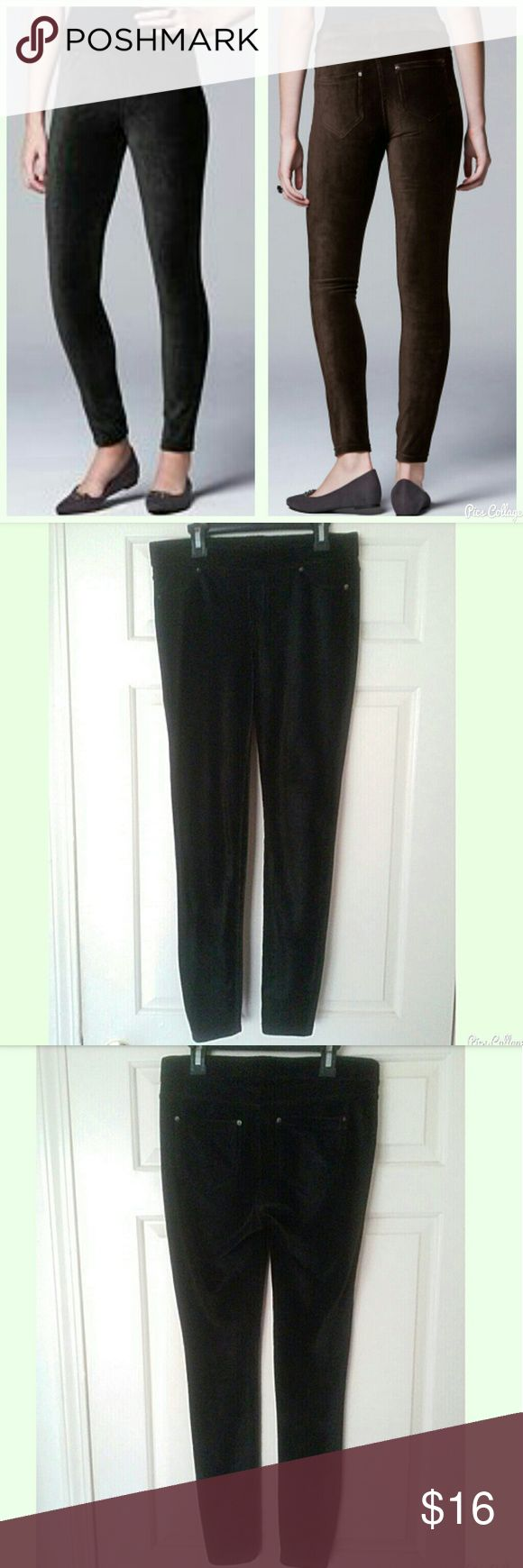 """Simply Vera Vera Wang Corduroy Leggings ✳Simply Vera Vera Wang ✳Black Corduroy Leggings ✳2 faux front pockets ✳2 back pockets ✳Elastic waistband ✳28"""" approx. inseam ✳95% Polyester, 5% Spandex ✳Machine wash cold ✳In great used condtion. No damage. Looks great! ✳Size Small  Stock photo exact as listing. Only have black pair.   ☑OFFERS WELCOMED☑ ☑BUNDLE and SAVE☑ Simply Vera Vera Wang Pants Leggings"""