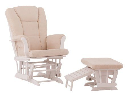 Amazon.com: Status Veneto Glider and Nursing Ottoman, White/Beige: Baby