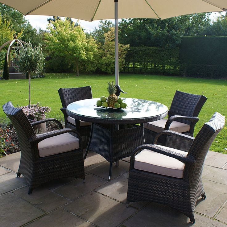 all weather 4 seater outdoor rattan garden furniture dining set brown - Garden Furniture 4 Seater Sets