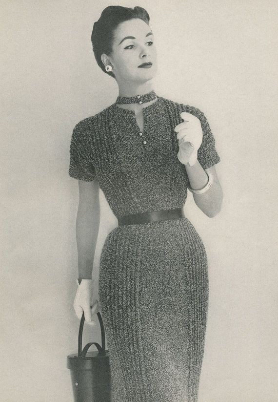 Vintage 50s ShortSleeved Tweed Dress Knitting by AdorishVintage, $3.99