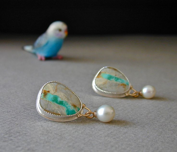Turquoise Earrings, Post Earrings, Nevada Boulder Turquoise, Pearl Drops, Sterling Silver, 14kt Gold, by betsybensen (Sold)