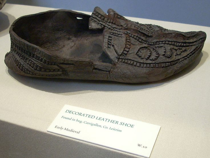 Decorated leather shoe found in a bog in Carrigallen, Co., Leitrim. Dated to the early middle ages. Photograph by Vlasta.