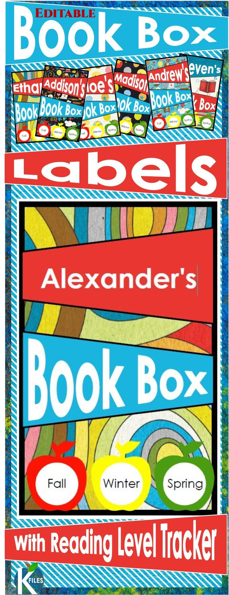 """Student book box labels measure 3x5"""" to cover the entire front panel of the standard-sized book bins! There are 6 different labels to choose from. I have included a Reading level tracker so that you can display your students' Reading Level to record growth and encourage them to read """"Just Right"""" books during Reader's Workshop, and Read to Self  during the Daily 5. I use the 3/4"""" circle labels to record their reading level throughout the year. The labels are editable…"""