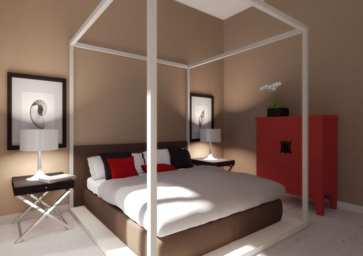 Eidomatica - rendering appartamento al mare/holiday sea apartment rendering - camera padroonale/master bedroom