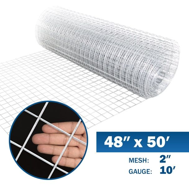 10 Gauge Galvanized Welded Wire Mesh Size 2 Inch By 2 Inch 4 Ft X 50 Ft In 2020 Welded Wire Fence Wire Mesh Fencer Wire