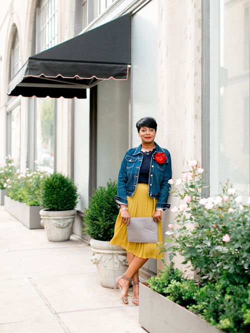 5fad1c6a76 jean jacket and yellow pleated skirt | see more at Medley Style ...