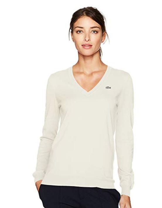 f723592cdac Lacoste Womens Long Sleeve Cotton V-Neck Fine Knit Sweater - Off White Size  6 #Lacoste #VNeck #Casual