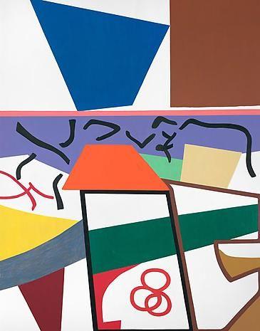 Shirley Jaffe, Bande Dessinée en Noir et Blanc, 2009. oil on canvas, 57 1/2 x 45 1/4 inches