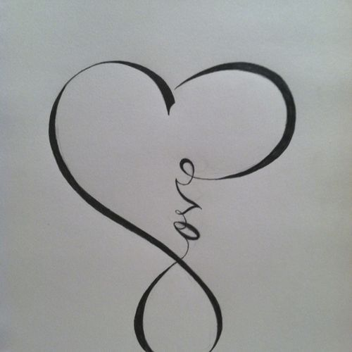 """Love"" calligraphy that resembles the ""infinity"" sign . . . I want this as a tattoo-- I would have at least 2 by my heart and have lost loved ones and my direct family (sister mother and father)"