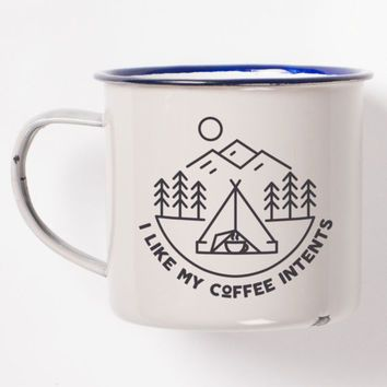 "I Like My Coffee ""Intents"" Enamel Camping Mug Featuring Awesome Pun More"