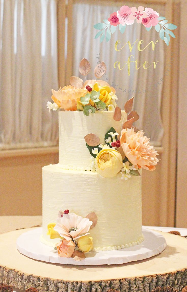 @everaftercake Rustic Buttercream cake with sugar flowers.