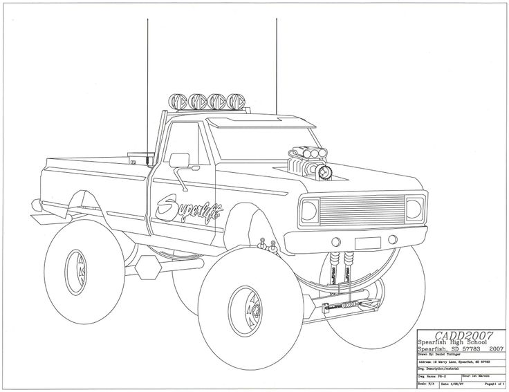 Pictures Of How To Draw A Lifted Truck