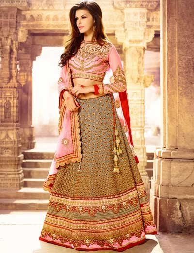 Grey art silk semi stitch wedding wear lehenga choli