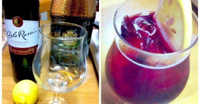 【キティ】  味:ジンジャーエールの甘さがほどよく、お酒に強くない人でも飲みやすいカクテル  シェイカー:不要  材料:  ・赤ワイン  ・ジンジャーエール  ・レモン  ・氷