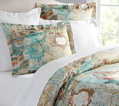 Map Print Duvet Cover & Shams... This is perfect for us!
