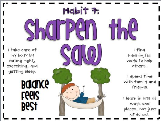 "Stephen Covey's 7 Habit of Healthy Kids would be useful to use in this unit and throughout the year.  It has many prompts that will help promote thinking.  One of my favorite sections on this image is when it stated, ""I take care of my body by eating right, exercising, and getting sleep.""  These are all a part of our health statements and making our own 7th habit poster could be meaningful to my students."