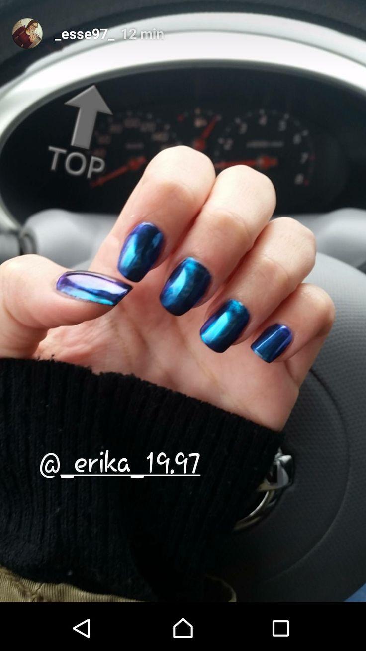 Unghie cromate blu