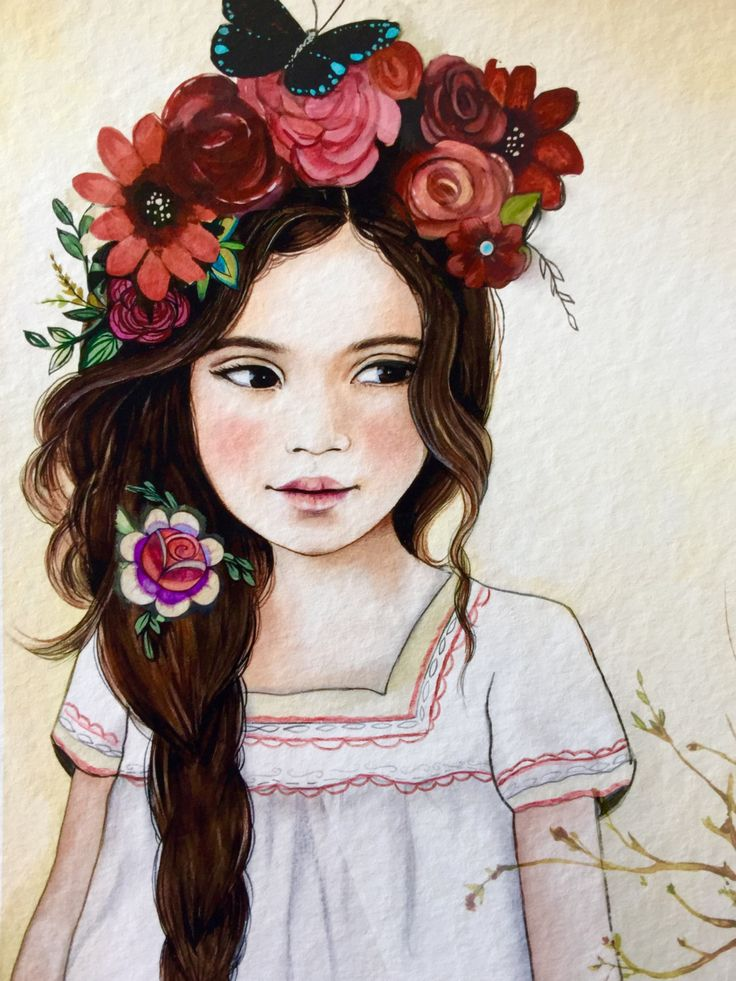 Roses and black butterfly in her hair.. by claudiatremblay on Etsy