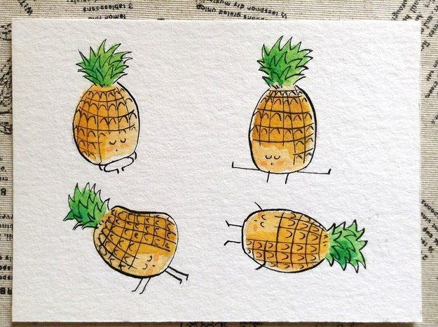 This pineapple gets supremely supine. | These Adorable Watercolor Fruits And Veggies Will Inspire You To Try Yoga