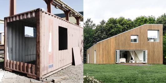 UGJENKJENNELIG: Det er ikke mange som kunne tenkt seg at containeren til venstre skulle kunne bli til huset vi ser til h�yre.