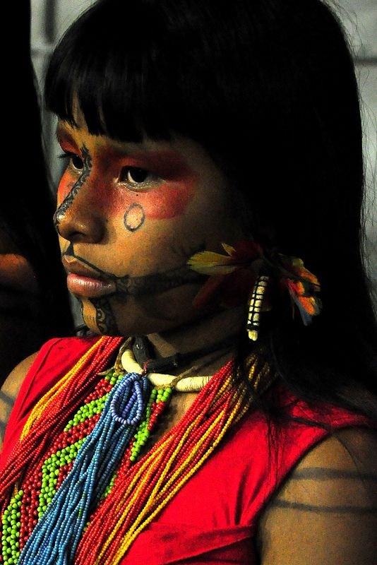 South America   Portrait of a Karajá/Iny girl with traditional painted face, Bananal Island, in the Araguaia Indigenous Park in Tocantins, Amazonian Brazil, Brazil
