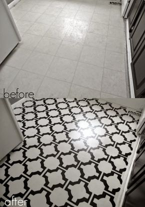 DIY painted vinyl floors before and after
