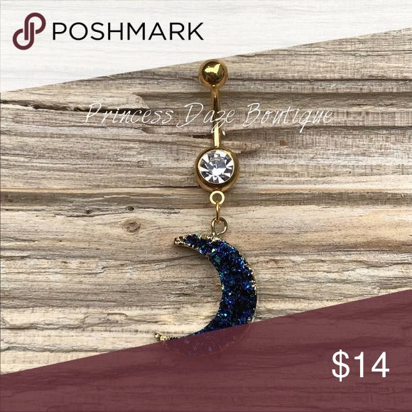 Gold Blue Druzy Stone Moon Bauchnabel Ring Bauchnabelpiercing Körperschmuck Materi …   – My Posh Picks