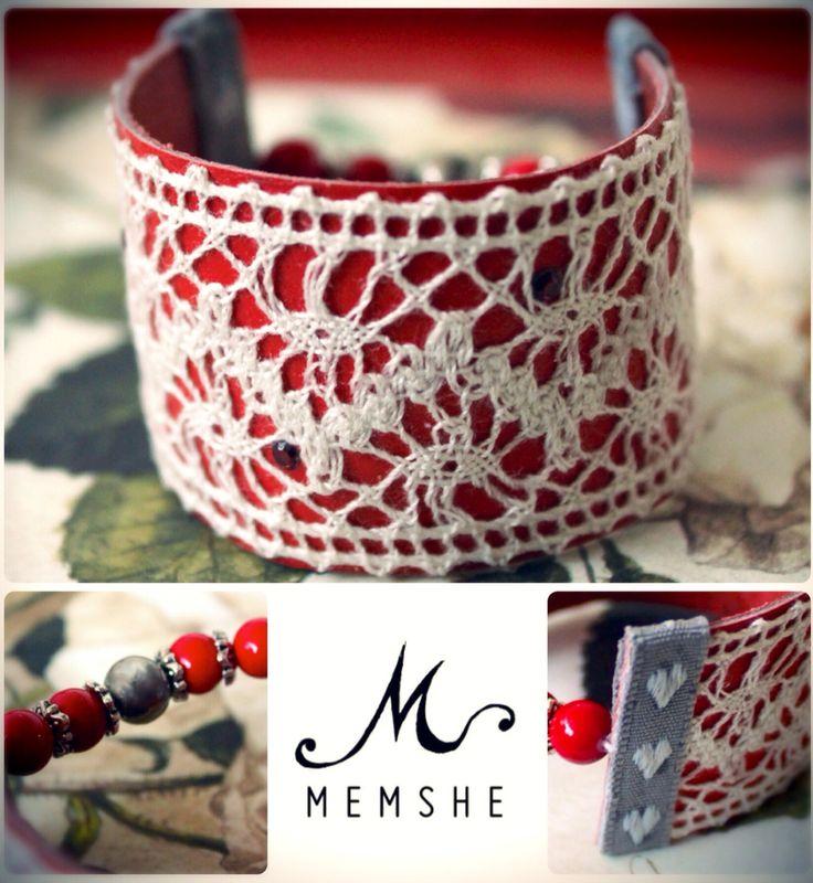 Red bracelet, leather