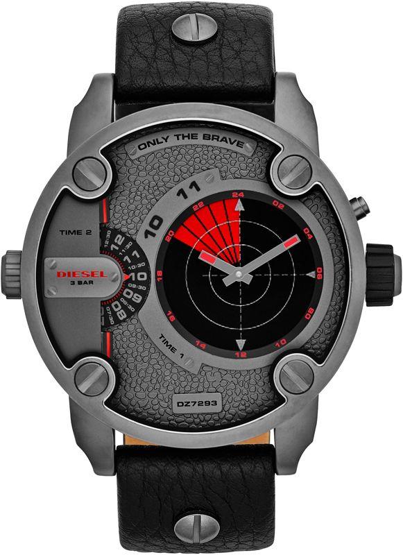นาฬิกา นาฬิกาข้อมือ ดีเซล Diesel รุ่น DZ7293 Diesel Men's Analog-Digital RDR Little Daddy Black Leather Strap Watch