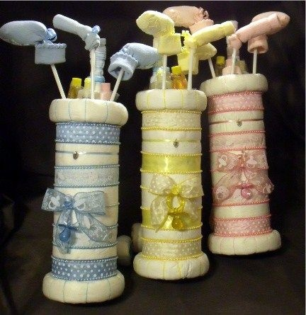 Golf Bag Baby Shower Diaper Cake - No idea how you would make this, but DH would love it!