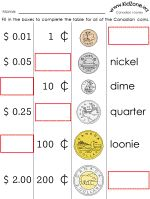 Tons of free Canadian money worksheets