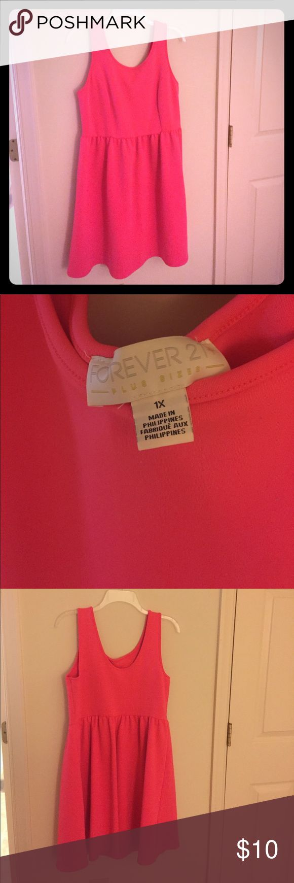 """Coral Sundress Bright Coral sundress from Forever 21. Stretchy material, very comfortable 👗 I'm 5'4"""" and it comes to just below my knees Forever 21 Dresses Midi"""