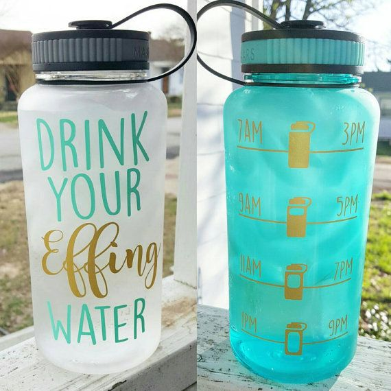 CLEAR Drink Your Effing Water Inspirational Motivate Me Tracker Bottle Times…