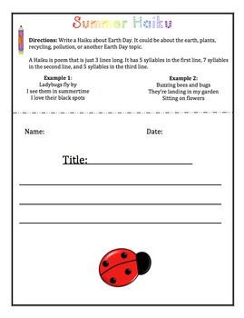 End out the year with a Summer Theme Poetry Unit. No prep packet with student examples and directions.