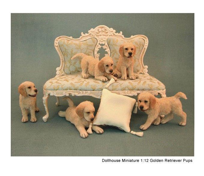 Kerri Pajutee Miniature Animals ~ Golden Retriever Pups