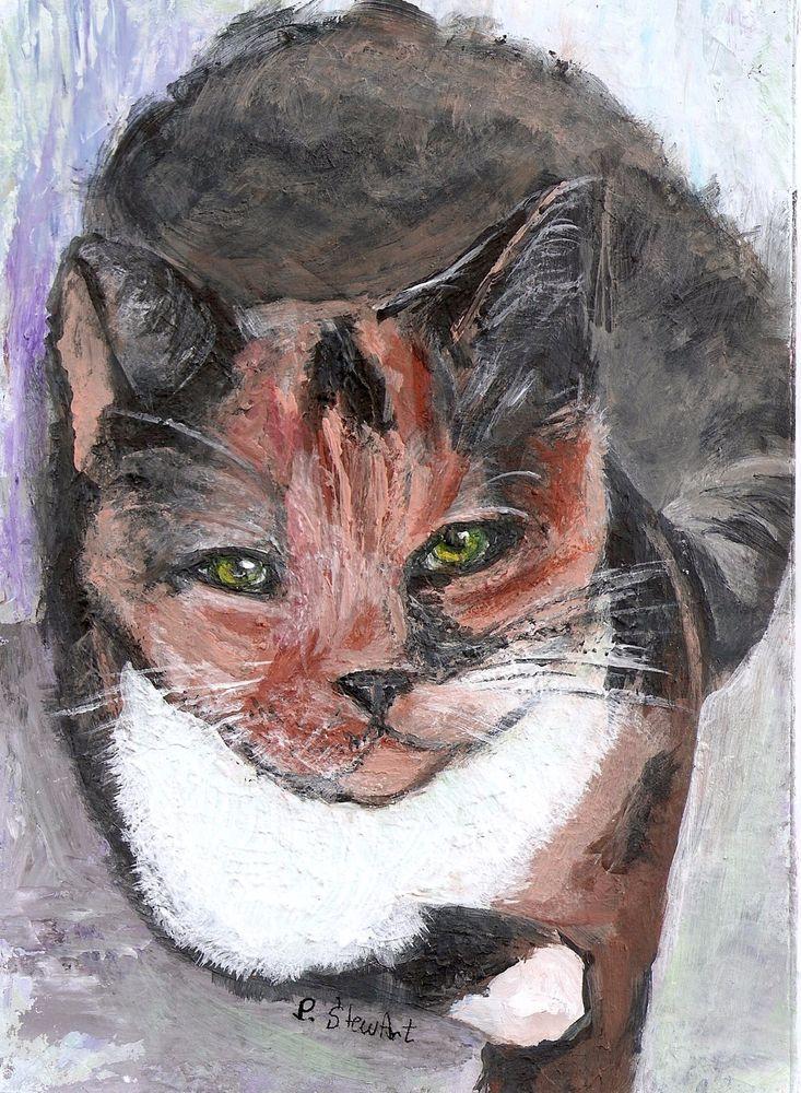 Calico Cat Art Feline Acrylic Mixed Media 5x7 painting by Penny Lee StewArt #Miniature