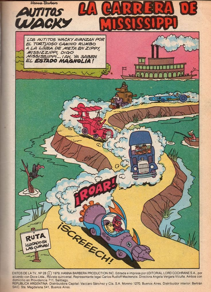 Los autos locos (en inglés Wacky Races). 1979 Hanna-Barbera Productions.  Número 00: El Súper Ferrari (El auto doble cero) (The Mean Machine oo) , conducido por Pierre Nodoyuna (Dick Dastardly) y Patán (Muttley), los villanos de la serie. La Antigualla Blindada (The Bulletproof Bomb), conducido por Mafio y sus pandilleros , siete irresponsables y cabezas huecas gánsters. Manejan un sedán de los años 1920.