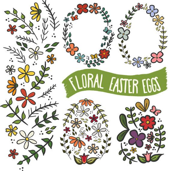Floral Easter Eggs Clipart, Easter Frames Clipart, Flower Frames, Flower Wreaths Clipart, Easter Clipart, Flower Clipart, Spring Flowers  This listing is for a clipart set of 5 digitally hand drawn Floral Easter Egg design elements. Can be used digitally or in print. Perfect for invitation design, scrapbooking, cardmaking, stickers, announcement cards, blogs, digital stamps, greeting cards, web design, decorations or anything! ≈≈≈≈≈≈≈≈≈≈≈≈≈≈≈ WHAT YOU GET: ≈≈≈≈≈≈≈≈≈≈≈≈≈≈≈  • 5 individual…