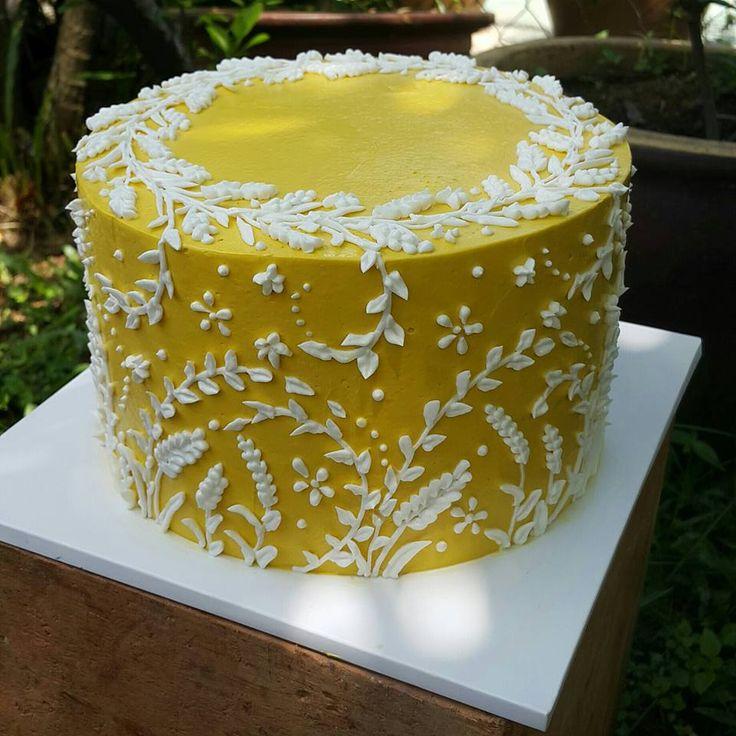 Beautiful buttercream cake with hand-piped detail. By Hayati Abd Rahim