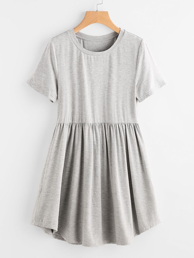 Shop Heather Knit Curved Hem Smock Tee Dress online. SheIn offers Heather Knit Curved Hem Smock Tee Dress & more to fit your fashionable needs.