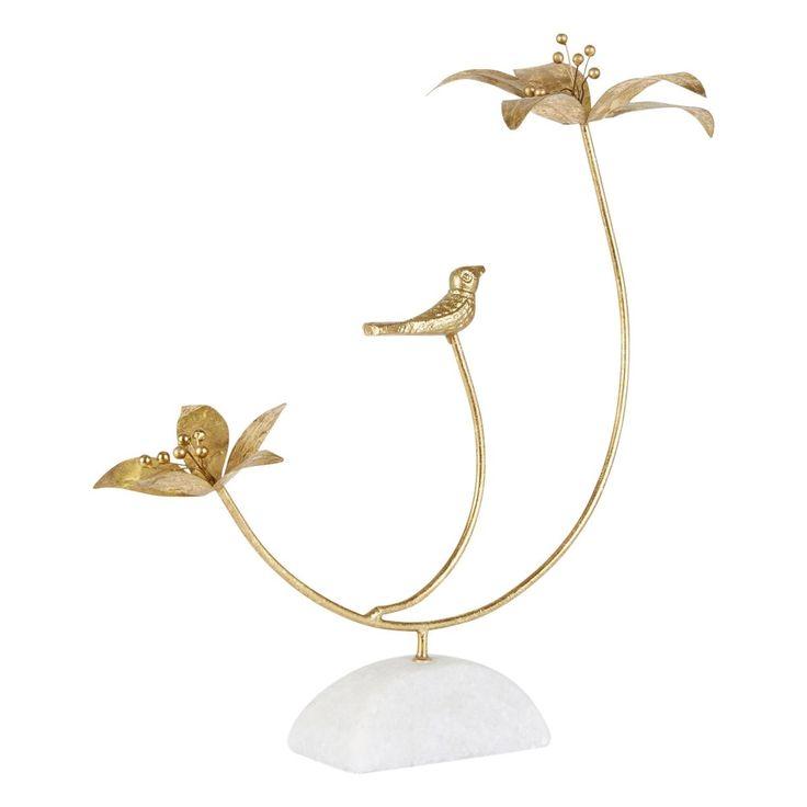 Figurine Palmiers Et Oiseau Sur Socle Pistile Marbre H35 Cm – Taille : Taille Unique