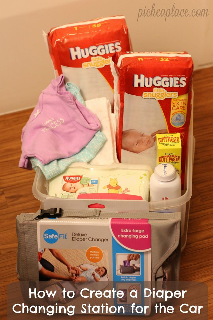Moms on-the-go know the importance of being prepared for ANYTHING, and that includes diaper changes in the car. Check out this easy tutorial for putting together a diaper changing station for your car, and always be prepared! | How to Create a Diaper Changing Station for the Car #SkinCareForBaby #ad